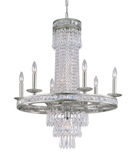 Crystorama Lighting 5266-OS-CL-MWP Chandelier with Hand Polished Crystals, Olde Silver