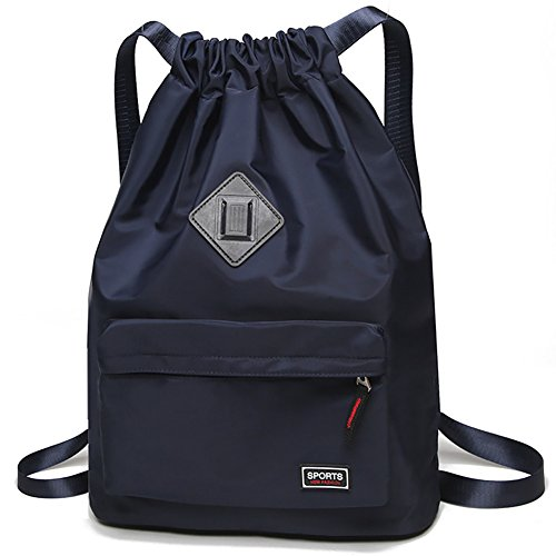 Peicees Waterproof Drawstring Sport Bag Lightweight Sackpack Backpack for Men and Women(Blue) ()