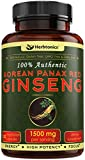 High Strength Korean Red Panax Ginseng 1500 mg-120 Vegetarian Capsules- with Ginsenosides to Improve Energy, Endurance, Performance, Mood and Sexual Health for Men and Women. Ginseng/Gensing Capsules Review