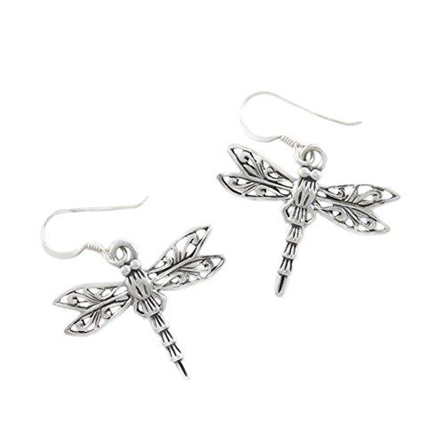 Sterling Silver Dragonfly Filigree Earrings ()