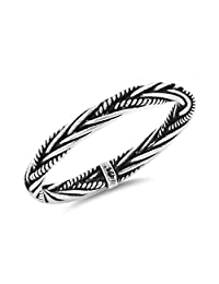 925 Sterling Silver Rope Braid Bali Ring
