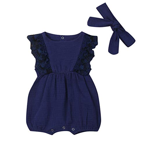 SIN vimklo Infant Baby Girl Solid Lace Floral Patchwork Ruffled Sleeveless Romper Bodysuit Jumpsuit+Headband Navy