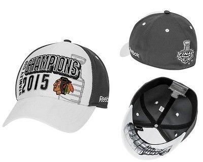 Chicago Blackhawks Reebok 2015 Stanley Cup Champions Locker Room Flex Hat - White/Gray