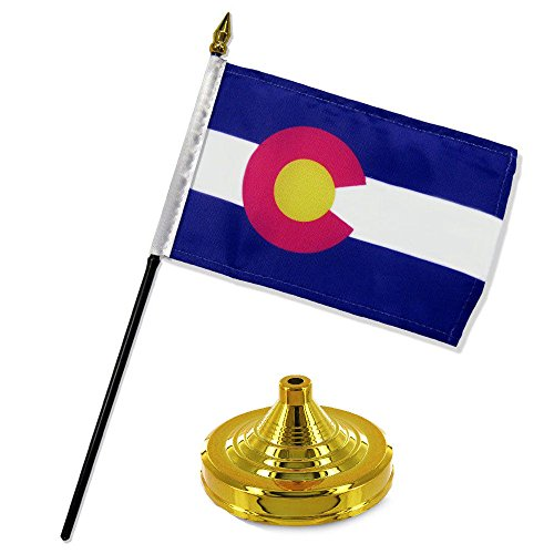 (ALBATROS Colorado State Flag 4 inch x 6 inch Desk Set Table Stick with Gold Base for Home and Parades, Official Party, All Weather Indoors Outdoors)