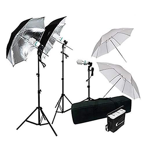 - LimoStudio 600W Photography Triple Photo Umbrella Lighting Kit, Video, Umbrella Continuous Lighting Kit, CFL Photo Bulbs, Black/Silver & White Umbrella Reflector, Light Stand, Carrying Case, AGG2263