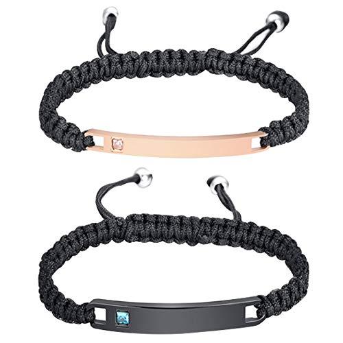 Nanafast Personalized Custom Engraved Nameplate ID Matching Couples Bracelets Braided Rope Stainless Steel Rhinestone Setting Bangles (Black + Rose Gold)