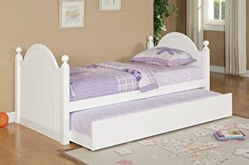 twin bed with trundle white by poundex