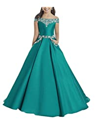 MCandy Princess Girl's Boat Neck Beaded Evening Gowns Long Pageant Dresses