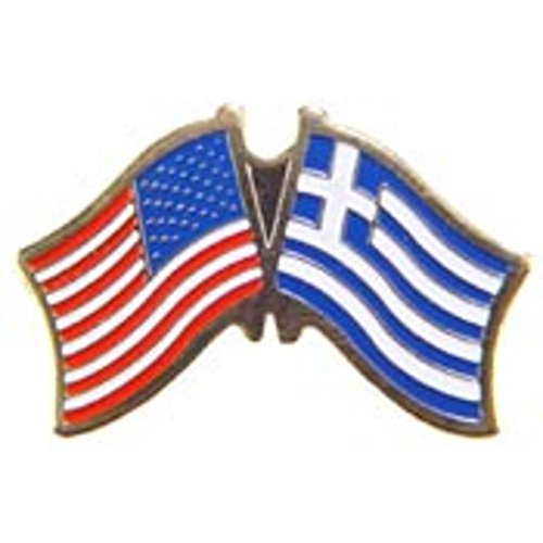 American & Greece Flags Pin 1