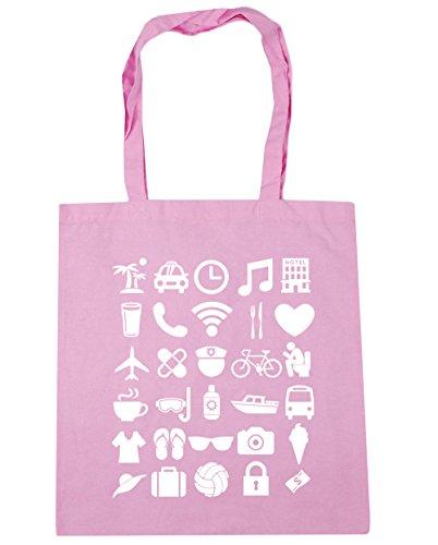 HippoWarehouse vacaciones iconos Tote Compras Bolsa de playa 42cm x38cm, 10litros Classic Pink