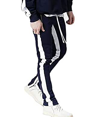Mens Premium Slim Fit Track Pants Athletic Jogger Bottom with Side Taping Dark Blue L