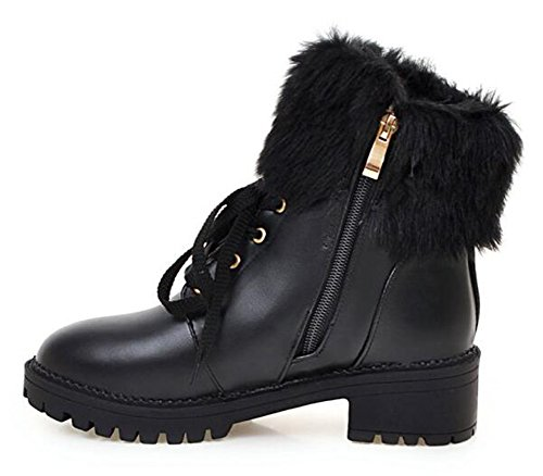 CHFSO Women's Stylish Waterproof Faux Fur Lined Lace Up Mid Heel Platform Ankle Winter Snow Boots