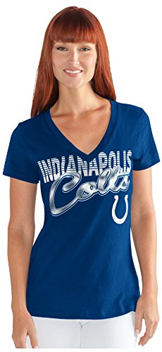 GIII For Her NFL Indianapolis Colts Women's 1St Down V-Neck Tee, Large, Royal (Womens Jerseys Colts)