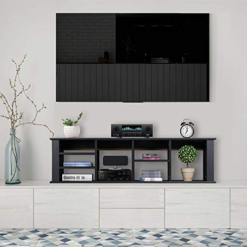 Yaheetech Wall Mounted TV Media Console - for Living Room Office Floating Hutch Storage Cabinet Bookshelf Black (Wall For Mounted Table Console Tv)