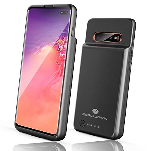 Galaxy S10 Plus Extended Battery Case, ZeroLemon Slim Power 5000mAh Extended Rechargeable Battery Case with Full Edge Protection for Samsung Galaxy S10 Plus- Black