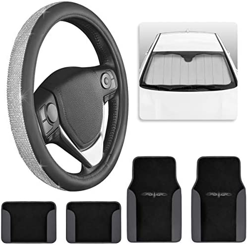 BDK Pretty Car Accessory Gift Set, Includes Glitter Auto Sunshade, Carpet Floor Mats & Steering Wheel Cover, Holiday Combo Pack for Autos Truck Van SUV