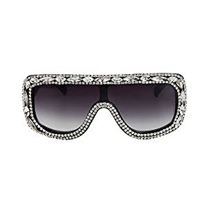 MINCL/Large Oversized Square Aviator Shine Style Diamond Women Sunglasses (light black-black, light black-black)