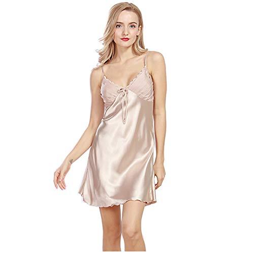 - Women's Short Satin Pajamas Nightgowns and Adjustable Spaghetti Strap Sleepwear Loungewear S M L Brown