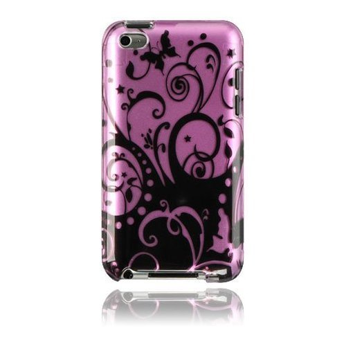 Purple Black Swirls Floral Print Crystal Hard Skin Case Cover for Apple Ipod Touch iTouch 4th Generation 4g 4 8gb 32gb 64gb