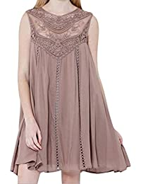 Women Casual Loose Tunic Dress Floral Lace Sleeveless Chiffon Mini Dress Summer Beach Sundress