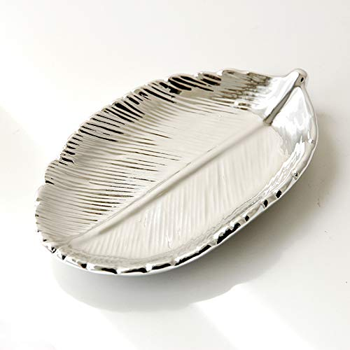 FairDeco Silver Electroplating Ceramic Leaf Trays Small Jewelry Storage Box Decorative Centerpiece Accents