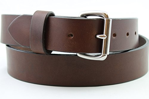 Heavy Duty Brown Stainless Men's Leather Belt Custom Gun Work Hand Made USA 1.25 and 1.5 Inch (1.5