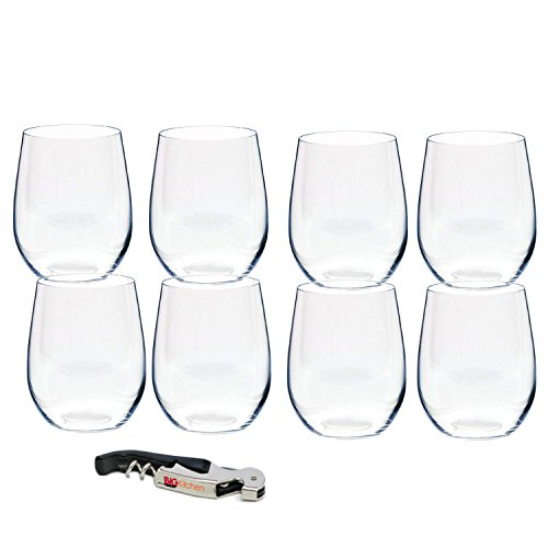 Riedel O Stemless Viognier/Chardonnay Wine Glass, Set of 8 with Bonus BigKitchen Waiter's Corkscrew
