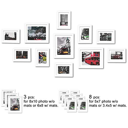WOOD MEETS COLOR 11 Pcs Picture Frames Set, Wall Gallery Collage Frames with Hanging Template, Real Glass Window and Photo Mats, 3-8x10 and 8-5x7 Photo Frames (White) from WOOD MEETS COLOR