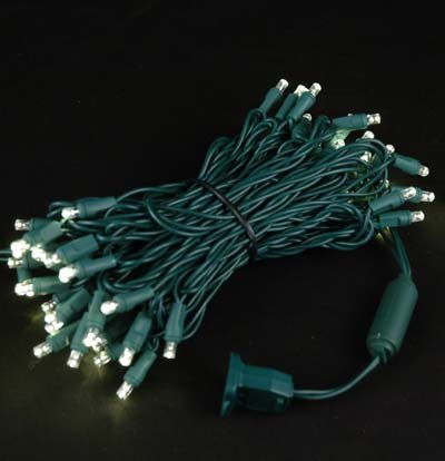 Novelty Lights Twiwa50 Commercial Grade Twinkling Led Christmas Mini Light Set Random Twinkle Warm White Green Wire