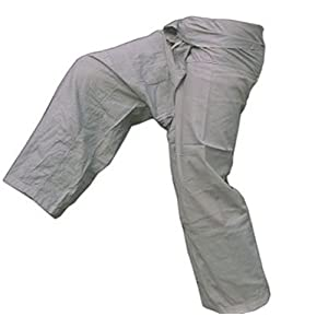 Grey Toray - Men Women Thai Fisherman Pants Yoga Trousers by Thai Spicy Free Size