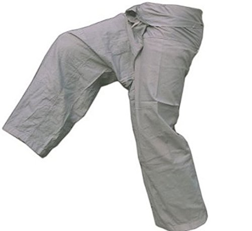 Grey Toray - Men Women Thai Fisherman Pants Yoga  Trousers by Thai Spicy Free Size (Ladies Police Tie Front Shirt)