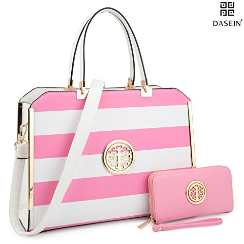 Dasein Women's Structured Designer Satchel Handbag Work Bag Shoulder Bag With Matching Wallet (02-6900 Pink/White)