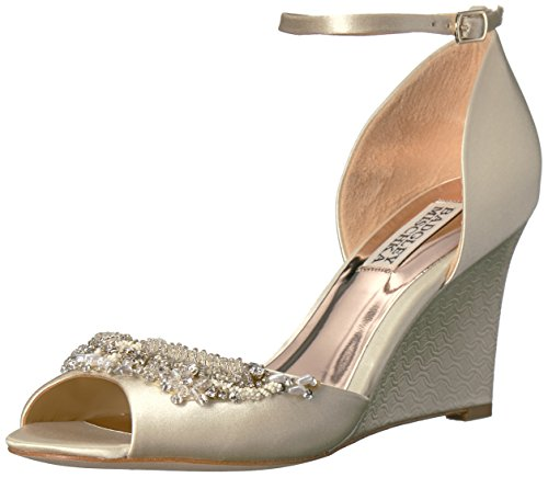 Badgley Mischka Women's Malorie Wedge Sandal, Ivory, 8 M US by Badgley Mischka