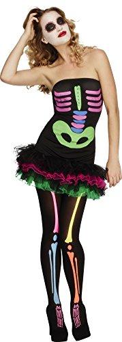Smiffy's Women's Fever Neon Skeleton Costume, Tutu Dress Neon Print and Detachable Clear Straps, Halloween, Fever, Size 2-4, -