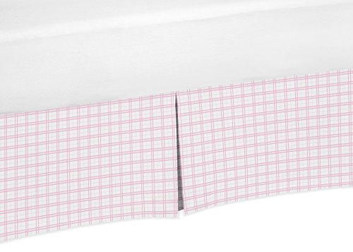 Sweet Jojo Designs Pink and White Plaid Crib Bed Skirt Dust Ruffle for Girls Pretty Pony Collection Baby Bedding Sets