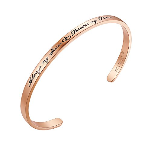 SOLOCUTE Womens Bangle Bracelet Engraved
