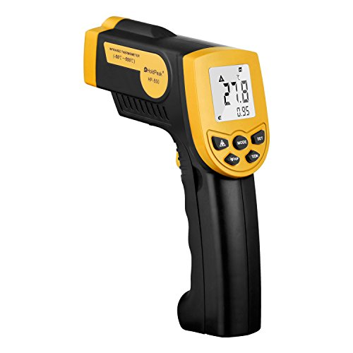 HOLDPEAK 550 Non-Contact Digital Laser Infrared Thermometer Temperature Gun -22 to 1022°F (-30 to 550°C) with Auto-Off function and LCD Backlight (Yellow) by H HOLDPEAK