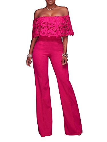 Pink Jumpsuit (FairBeauty Women Casual Sexy Strapless High Waist Long Pant Wide Leg Ruffle Party Lace Jumpsuits Rompers)