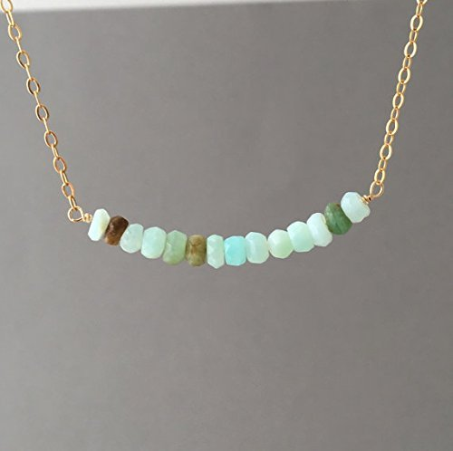 - Peruvian Opal Stone Beaded Necklace available in gold, rose gold, or silver