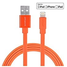 [Apple MFi Certified 3.3ft/1m]Noodle Flat Yellowknife® Colorful Durable Lightning to USB Cable 8 pin Sync Charging Cord for Apple iPhone 6 Plus/ 6S / 6 / 5S / 5C / 5, iPad 4 / Mini / Air, iPod (Orange)