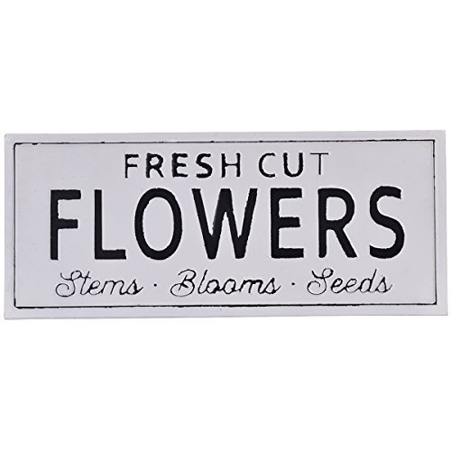Enid545Anne Fresh Cut Flowers Vintage Metal Wall Spring Sign Decor 4 x 18 Inches, White