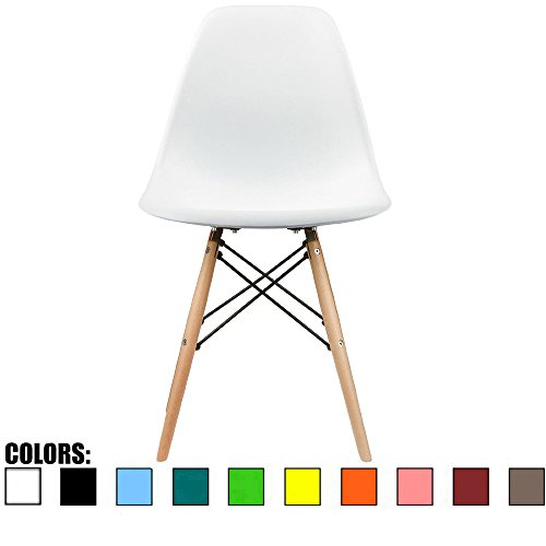2xhome – White – Eames Style Side Chair Natural Wood Legs Eiffel Dining Room Chair – Lounge Chair No Arm Arms Armless Less Chairs Seats Wooden Wood Leg Wire Leg