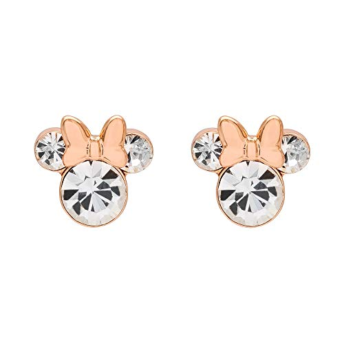 Disney Minnie Mouse Pink Silver Plated Crystal Stud Earrings; Mickey's 90th Birthday Anniversary