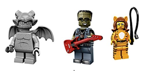 Gargoyle, Frankenstein Guitar Rock Star, Tiger Lady : Lego Collectible Minifigures Series 14 Monsters, Zombies, Halloween Custom Bundle 71010 -