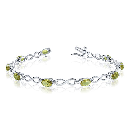 3.60 Carat (ctw) 14k White Gold Oval Green Peridot and Diamond Infinity Tennis Bracelet - 7