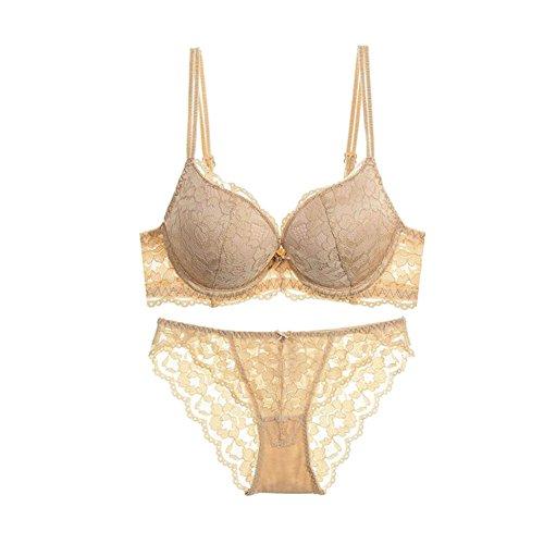 Haodasi Damen BH Dick Spitze Embroidery Luxus Frau Bra set Underwear Unterwäsche Nude wFkuO5
