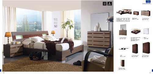 ESF 112 Contemporary Dark Brown Wood Finish Bedroom Set - Storage bed - King Size by (ESF) European Style Furniture
