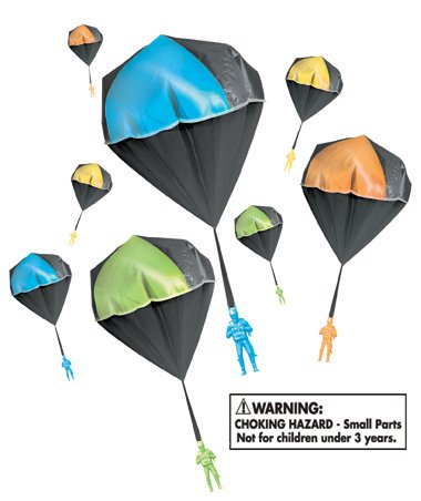 Aeromax GLOW Tangle Free Toy Parachute has no strings to tangle and requires no batteries. Simply toss it high