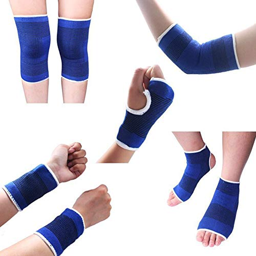 MINILUJIA Sport Protect Set 5 Pair/Set (Knee Brace Elbow Brace Pad Hand Half Palm Protection Gloves Children Sports Foot Ankle Brace Support Wrist Guard Pad) One Size -High Elasticity Blue