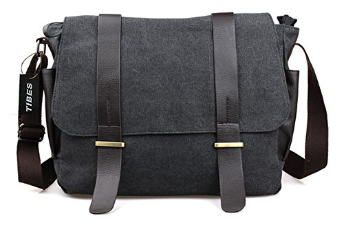 Tibes Tela lavoro Shoulder Bag Messenger Bag sacchetto di scuola Crossbody per gli uomini Nero